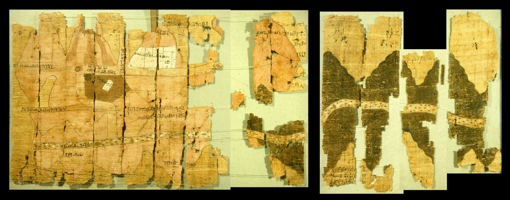 The Turin mining papyrus depicts mines in the Wadi Hammamat and is the oldest known map of its kind.